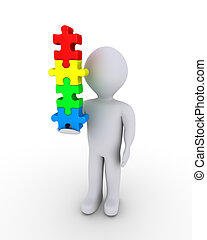 Person balancing puzzle pieces - 3d person is holding...