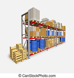 Storage racks and pallets with various products. - Storage...