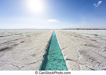 Water pool on Salinas Grandes Jujuy, Argentina. - Salt water...