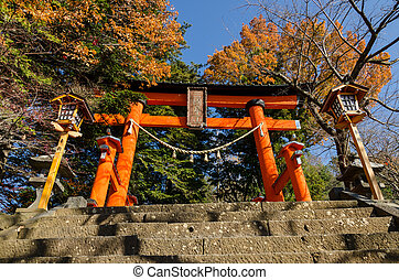 Torii at entrance of Chureito Peace Pagoda