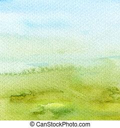 abstratos, acrílico, e, aquarela, pintado,...