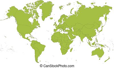 Map of the World - Detailed map of the world divided into...