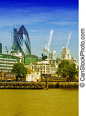 Skyscrapers of London over river Thames