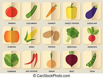 vegetable icon set The image of vegetables symbol -...