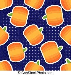 pumpkin pattern Seamless texture with ripe pumpkins -...