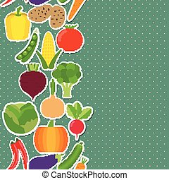 vegetable seamless border pattern. The image of vegetables -...