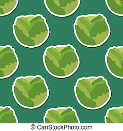 cabbage pattern. Seamless texture with ripe cabbage. Use as...