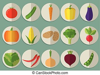 vegetable icon set. The image of vegetables symbol -...