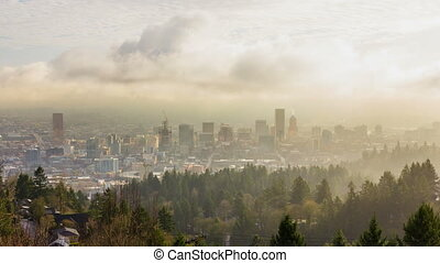 Time Lapse over City of Portland Or - Time Lapse Movie of...