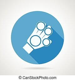 Flat vector icon for sport glove - Blue round vector icon...