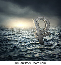 Ruble sign sinking in waterRussian economic crisis concept