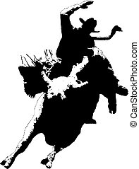 Rodeo Bull Rider - silhouette of rodeo cowboy on bucking...