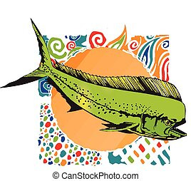 Mahi-Mahi Dophin swimming in front of very graphic back...