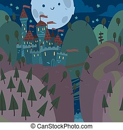 Cartoon flat Castle on a Hill at Night - The vector...