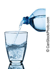 pour water into a glass - from a water bottle water being...