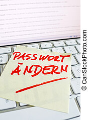 note on computer keyboard change password - a memo is on the...