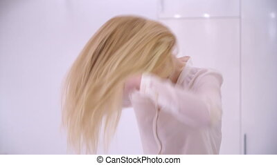 Blond Sexy Girl Shaking Her Hair