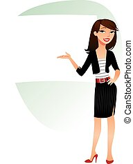 Business Woman pointing at a board at a presentation. Vector...