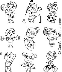 Sports and fitness. Skipping rope, hula hoop, golf, cycle...