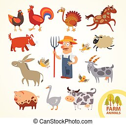 Set funny farm little animals Funny cartoon character Vector...