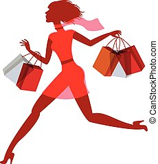 A girl hurries shopping on sale Vector illustration Isolated...