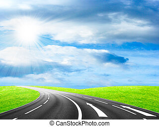 abstract road - route on background beautiful solar sky