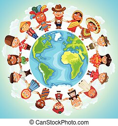 Multicultural character on planet earth cultural diversity...