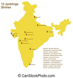 Twelve Jyotirlingas - Twelve Jyotirlinga shrines, important...