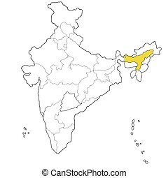 Assam - North-eastern state Assam on the map of India