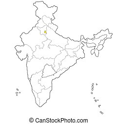 Delhi - Union territory Delhi on the map of India