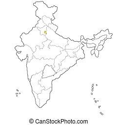 Delhi - Union territory Delhi on the map of India