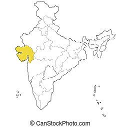 Gujarat - Western state Gujarat on the map of India