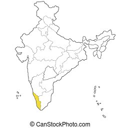 Kerala - Southern state Kerala on the map of India