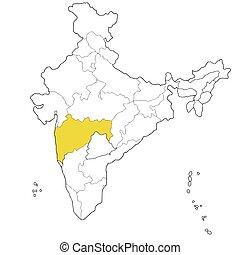 Maharashtra - Western state Maharashtra on the map of India
