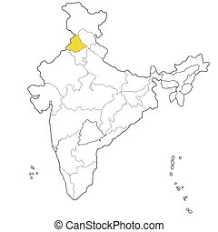 Punjab - North-western state Punjab on the map of India