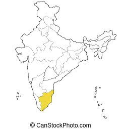 Tamil Nadu - Southern state Tamil Nadu on the map of India