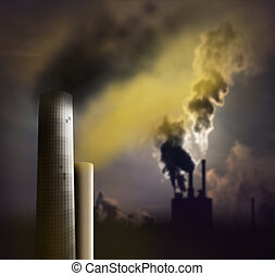 chimney with smoke - Pollution from chimney with smoke