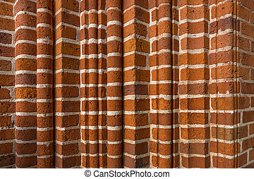 Red brick wall - Old wall with varied pattern of red bricks