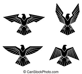 Black Silhouette Collection Of Eagle Symbol