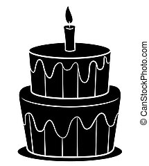 Black Silhoutte of Birthday Cake