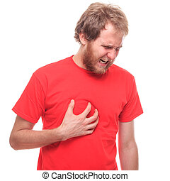 Bearded man has a heart attack