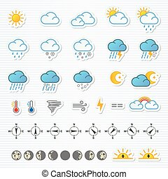 Weather icons. Vector illustration. Set