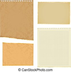 Blank worksheet exercise book Old thick paper with ragged...