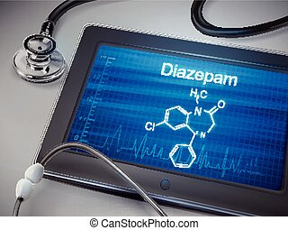 diazepam, palabra, exhibición, tableta