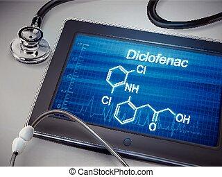 diclofenac, palabra, exhibición, en, tableta,