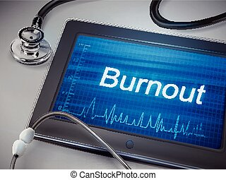 burnout word display on tablet over table