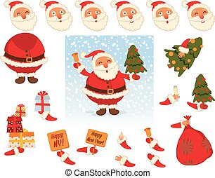 Santa Claus. Face and body elements - Santa Claus. Parts of...