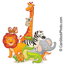 Wild Animals, posing together. Funny cartoon character....
