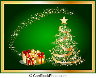 illustration of a golden christmas tree on green background