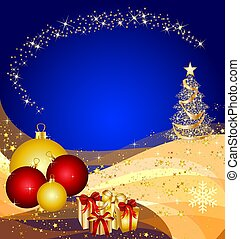 illustrazione, Natale, albero, dorato, onde